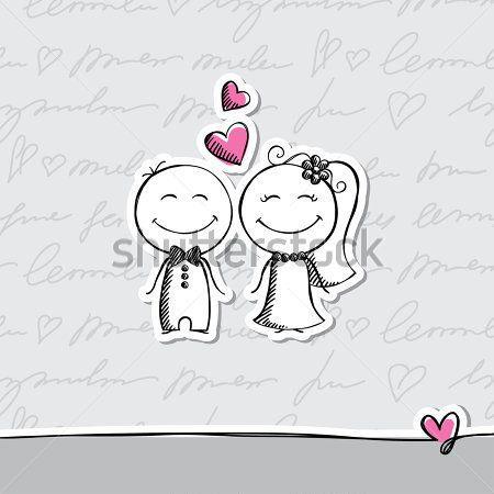 elle çizilmiş düğün çift gri arka plan üzerinde