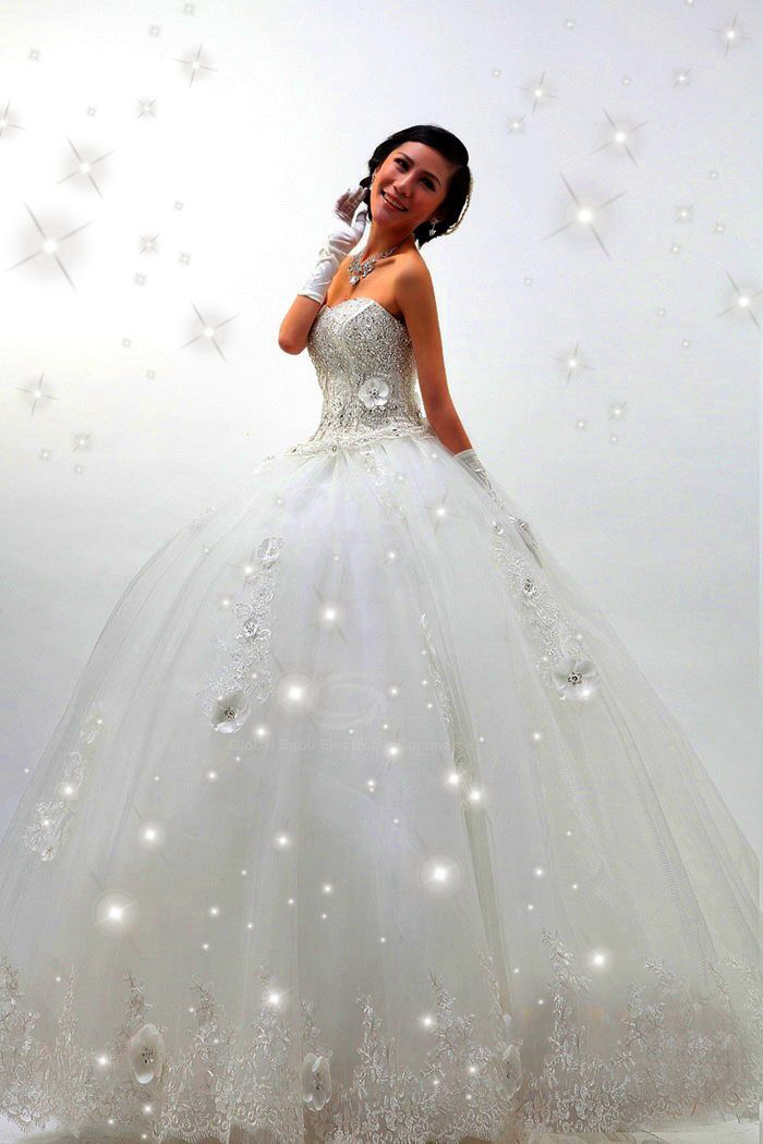 Beautiful sparkle wedding dress white princess dresses for White sparkly wedding dress