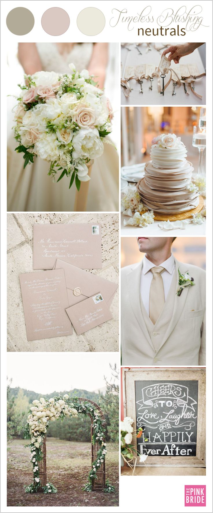 Timeless blushing neutrals wedding color board with nude, champagne, and cream wedding colors | The Pink Bride www.thepinkbride.com
