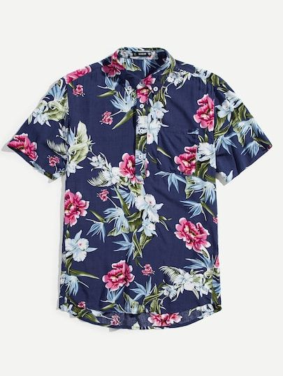 686432febc061 Men Tropical Print Curved Hem Shirt