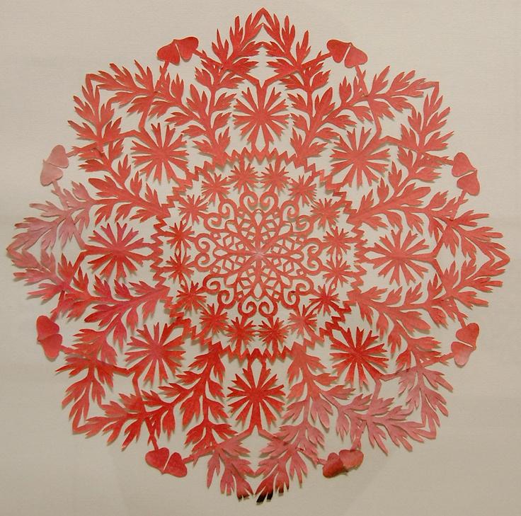 wycinanki  ... Polish paper cutting ... red ... mandala style ...