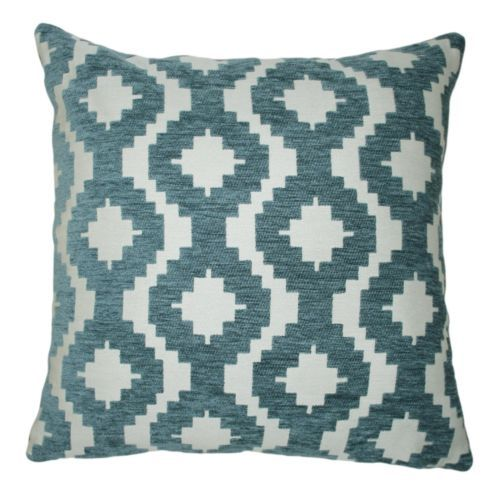 Wedgewood-Blue-Chenille-Cushion-Cover-Soft-Touch-Textured-Geometric-Pattern