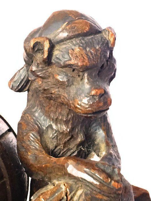 Antique German Hand Carved Figural Black Forest Tobacco Box Vintage Vintage Home Decorvintage