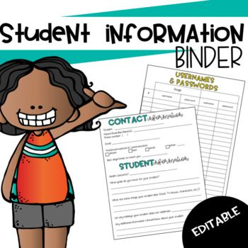 Stay organized by keeping all of your important student information in one place. Includes completely editable powerpoint and PDF The Student Information Binder includes: o Quick Guide: checklist for: IEP, 504, Allergies, and services o Special Forms: checklist for