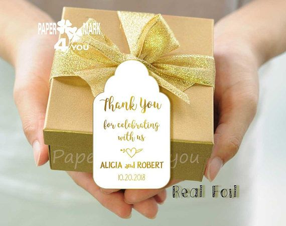 24 Real Gold Foil Thank You Tag_ Foil Wedding Personalized Tag