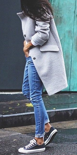Jeans, Converse and grey coat