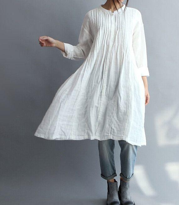 Vestido de camisa larga de algodón blanco de las mujeres
