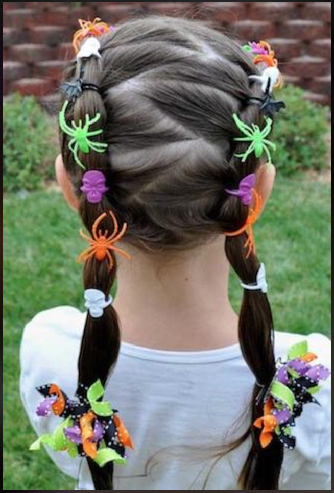Disfraz para halloween Halloween para niños peinados de halloween Easy Hairstyles For Kids, Teen Hairstyles, Creative Hairstyles, Little Girl Hairstyles, Summer Hairstyles, Halloween Hairstyles, Crazy Hairstyles, Natural Hairstyles, Frozen Hairstyles