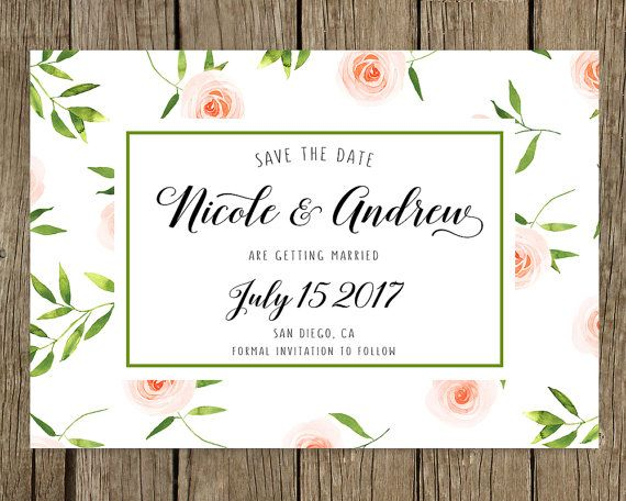 Wedding announcement, Custom template, Personalized, SAVE THE DATE, Watercolor spring flowers, Cute, Save the date elegant, Wedding card