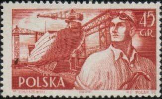 Znaczek: Shipyard and worker (Polska) (Polish Ships) Mi:PL 962,Sn:PL 722,Pol:PL 818