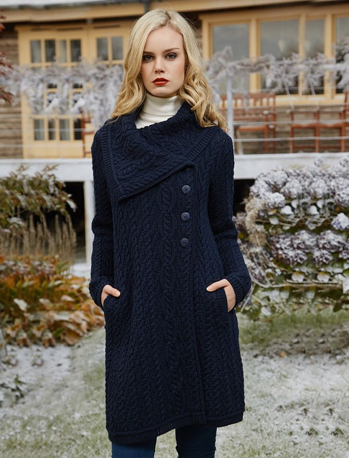 Large Collar Aran Coat
