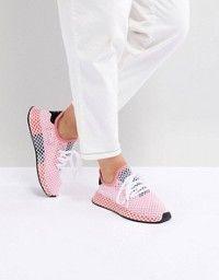 new arrival 6558c c3e0b adidas Originals  adidas Originals Deerupt Runner Trainers In White And  Yellow