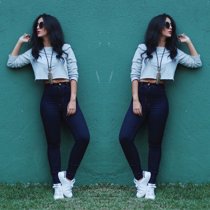 "JADE SEBA no Instagram: ""GREY! ☑️ #doubletrouble #ootd #jeans"""