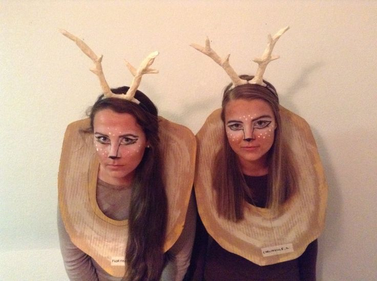 Halloween costume for older girls. (Twenty some/teenage) deer stub, taxedermy, buck trophy heads. Such an easy DIY