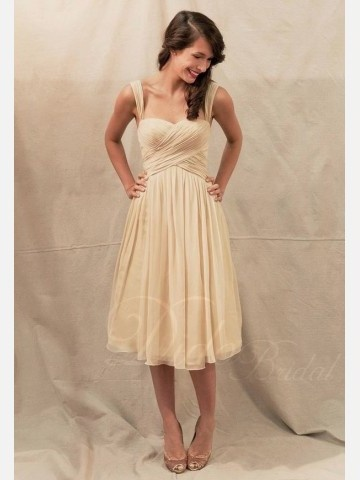 Didobridal.com: Ruched Bodice with Straps Chiffon Knee-length Bridesmaid Dress - Bridesmaid Dresses