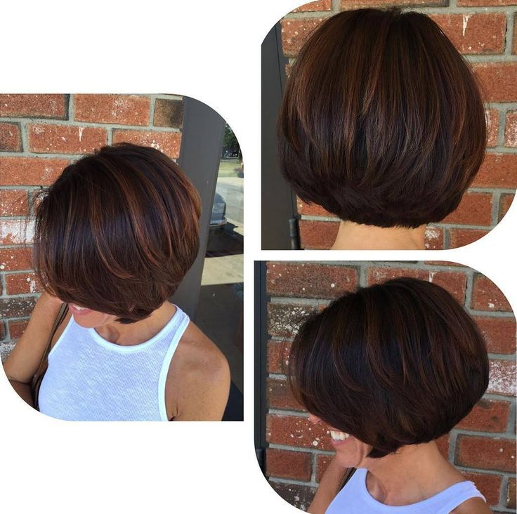 asymmetrical blonde pixie with highlights  Stacked Straight Bob With thick dark locks, stacking can sometimes make short hair seem too full. By dispersing reddish copper strands throughout, you can make your look appear more lightweight and create added dimension.