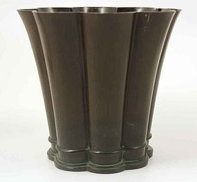 Art deco disko metal vase, Just Andersen, (1884-1943), Denmark. Just Andersen started his own shop in Copenhagen in 1918. His works were also sold in his shops in Berlin, Brussels, London, Los Angeles, and New York.