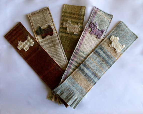 Fabric Bookmark  Tweed with Hand Sewn Scottie by DaisyBelleShop, £6.00
