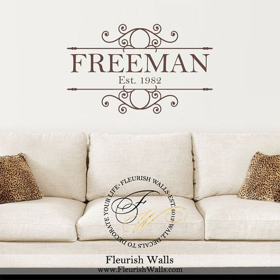 Family Last Name Decal Monogram Personalized with Established Date for Living Room Foyer Entry Way · Monogram Wall DecalsVinyl ...  sc 1 st  Pinterest & 21 best Family Name u0026 Monogram Wall Decals images on Pinterest ...