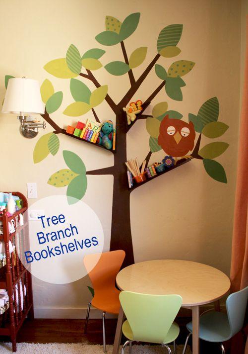 DIY tree branch bookshelves for baby / kids room