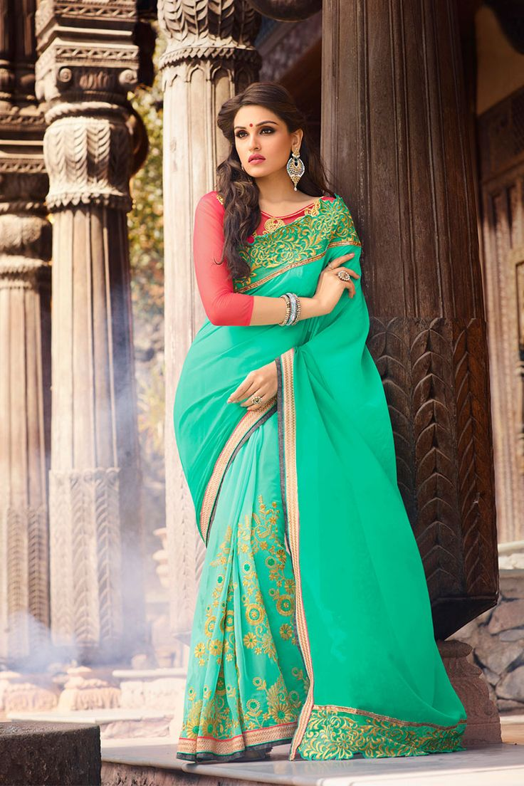 #Green Georgette #Designer #Saree #nikvik  #usa #designer #australia #canada #freeshipping #dress #saris