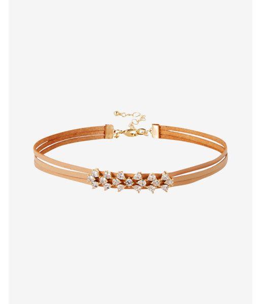 Stone Cluster Multi-Strand Choker Necklace Women's Neutral