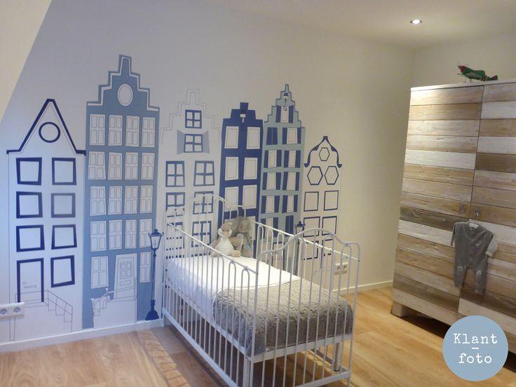 Delfts blauwe behang huisjes 1