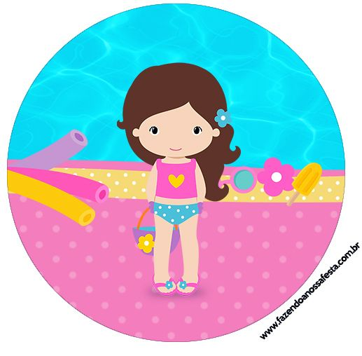 Brunette Girl Pool Party: Free Printable Wrappers and Toppers for Cupcakes. | Is it for PARTIES? Is it FREE? Is it CUTE? Has QUALITY? It´s HERE! Oh My Fiesta! in english