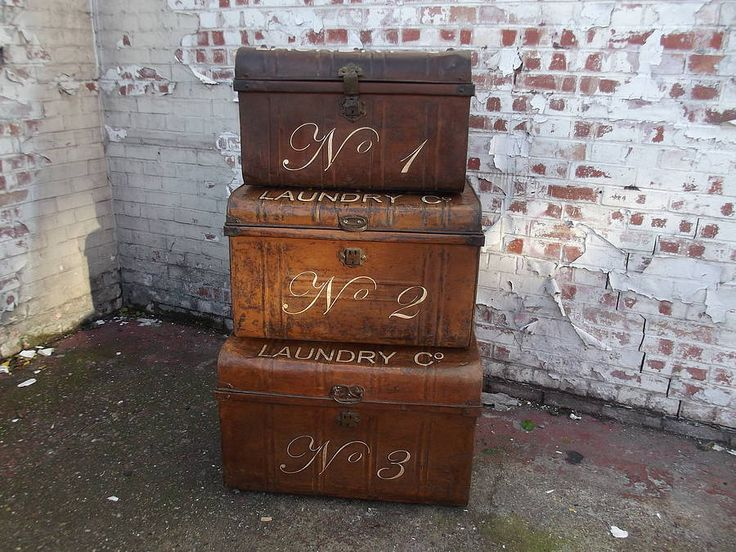 set of three graduated tin trunks by woods vintage home interiors | notonthehighstreet.com