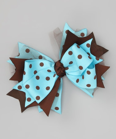 Take a look at this Blue & Brown Polka Dot Bow Clip by Payton Grace Bows on #zulily today!