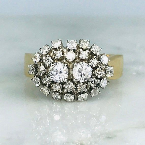 Vintage Diamond Cluster Cocktail Ring In 14k Jewelry Ring Etsymktgtool Diamondclusterring Aprilbirthstone 10 Jewelry Vintage Diamond Fine Diamond Jewelry