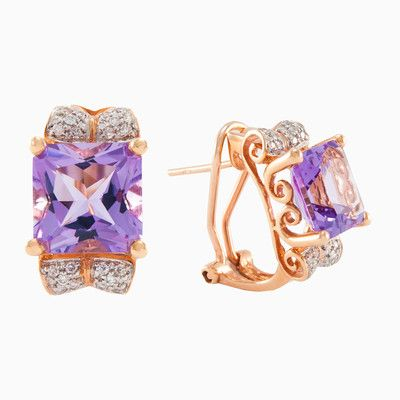 A pair of amethyst and diamond earrings, each earring centering an radiant-cut amethyst. Is made entirely by hand in 18k rose gold, total weight of diamonds is 0.21ct and natural amethysts with a 6.15 ct total weight.