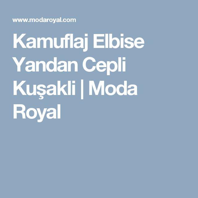 Kamuflaj Elbise Yandan Cepli Kuşakli | Moda Royal