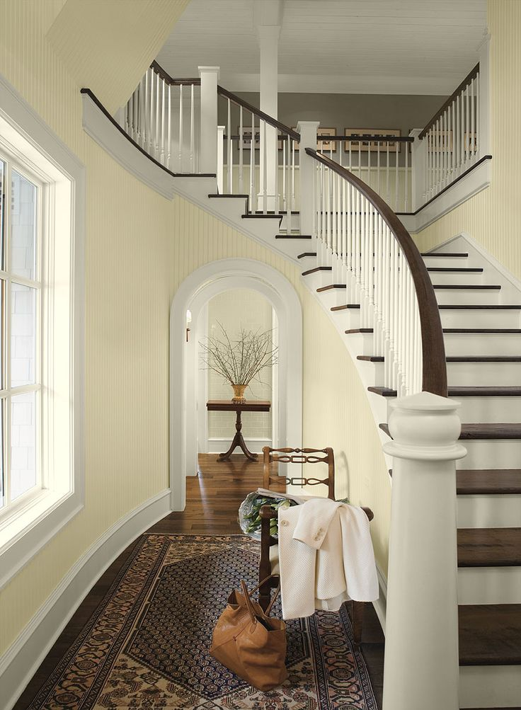 light & airy formal entry - cream 2159-60 (walls), mayonnaise OC-85 (trim),  weimeraner AF-155 (upper level wall)