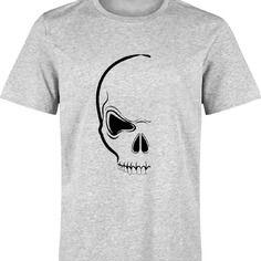 T-shirt halloween DEMI TETE DE MORT SKULL pour homme s à xxl - différents coloris