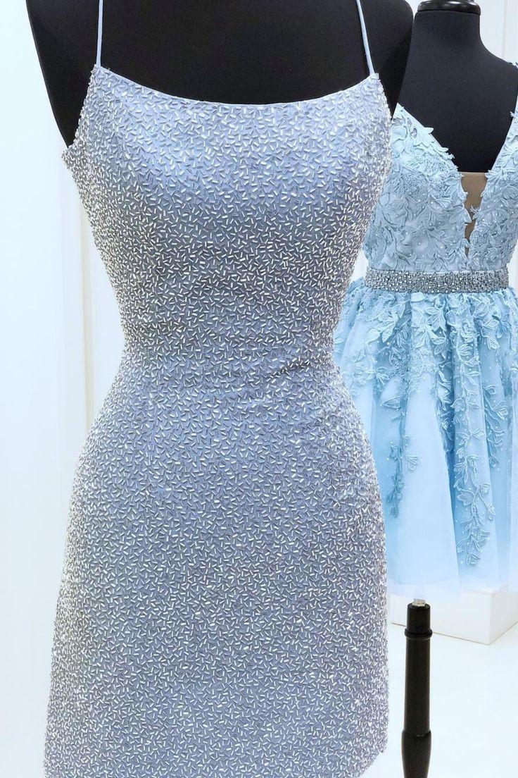 Tight Light Sky Blue Short Homecoming Dress with Criss Cross Back