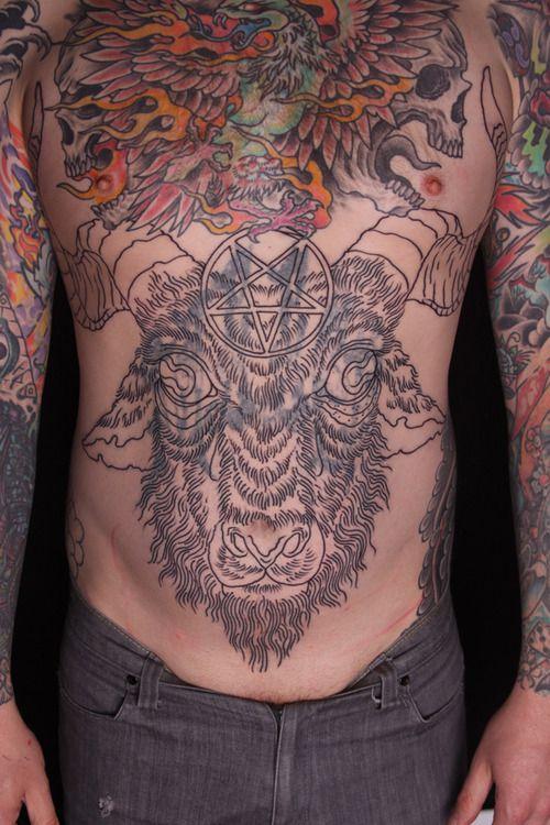 goat tattoo | goat/ram tattoo - Tattoos, Stomach tattoos ...