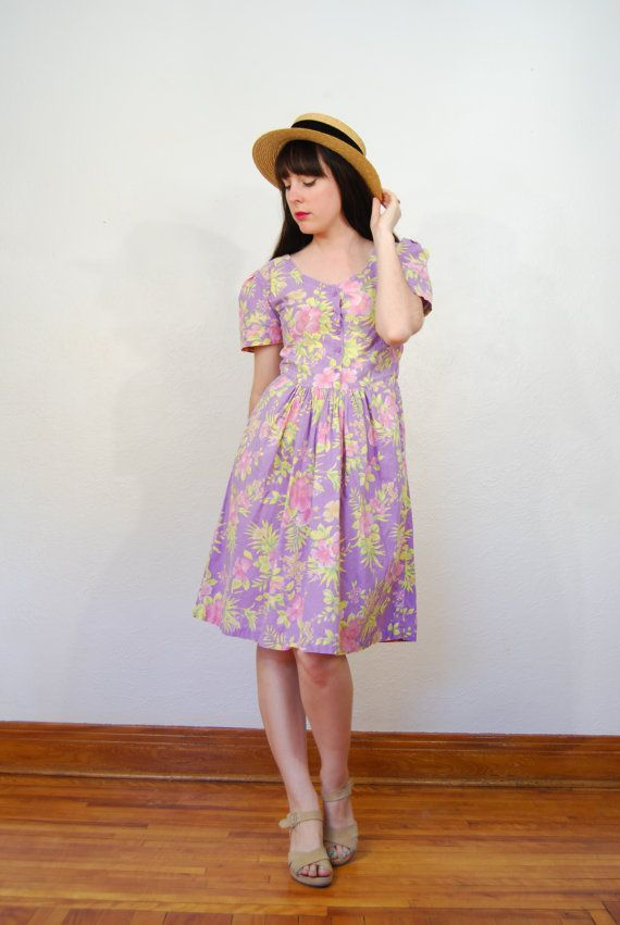 vintage 1980s / pastel / floral / Hawaiian style dress / by YeYe, $38.00