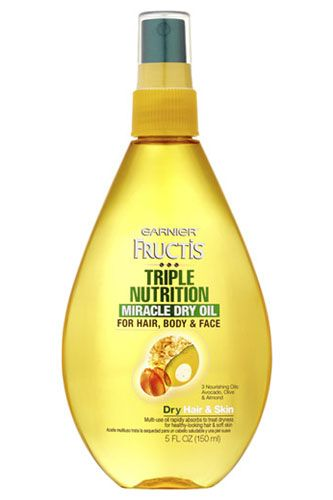 17 Drugstore Beauty Finds Every Girl Needs #refinery29 (Garnier Fructis Triple Nutrition Miracle Dry Oil, $4.97)