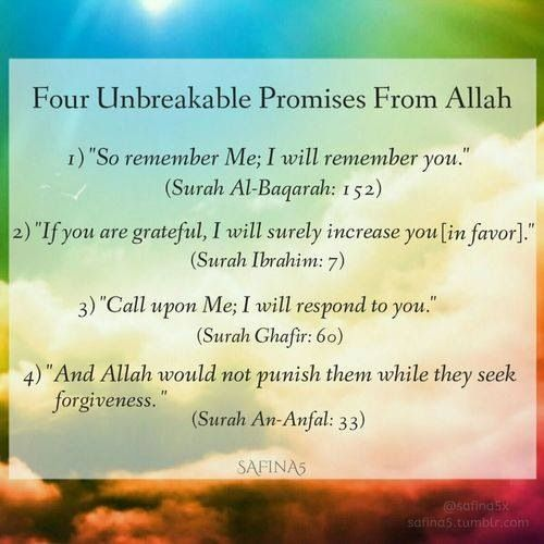 Four (4) promises from Allah  Qur'aanic verses #BadTimes