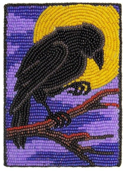 """Raven Moon"" bead embroidery by Robin Atkins explanation of how to bead in a circle."