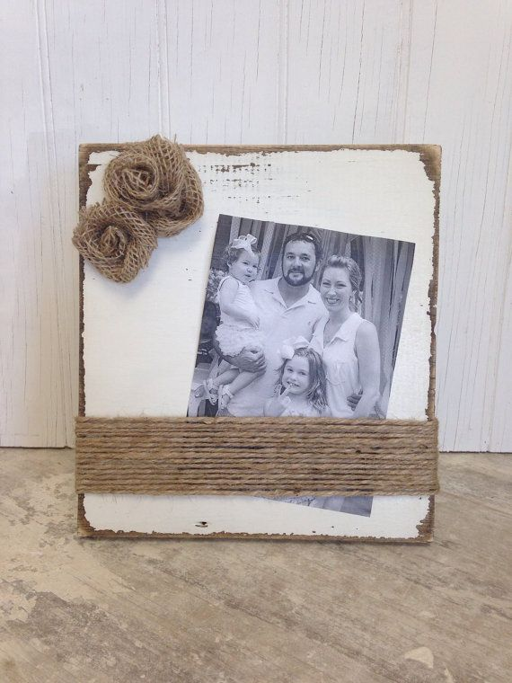 Cream Distressed Picture Frame with Burlap Rosettes
