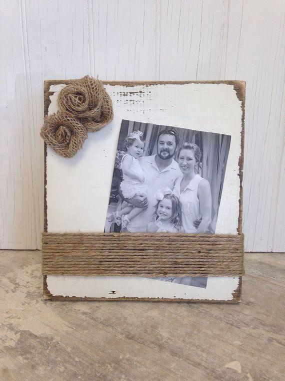 Cream Distressed Picture Frame with Burlap Rosettes