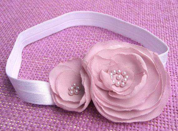 Beautiful hair bandr for babies and children with two flowers and pearls on every chance. by CuteHairBand, zł16.00