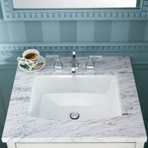 Features:  -Undercounter installation.  -Constructed of vitreous china.  -Counter top included: No.  Installation Type: -Undermount sink.  Style: -Contemporary.  Sink Shape: -Rectangular.  Material: -