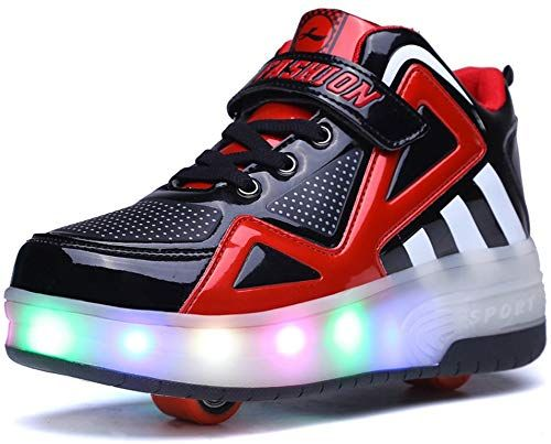Blue 4 M US Big Kid Hanglin Trade 7 Colorful USB Charging Breathable Light Up Flashing Wheeled Skate Shoes LED Roller Sneakers
