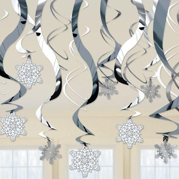 Snowflake Swirl Hanging Decorations 30ct winter wonderland party