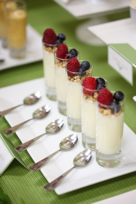 Yogurt Parfaits: Fill shot glasses with plain yogurt and top them off with raspberries, blueberries, and granola for a fun breakfast treat.