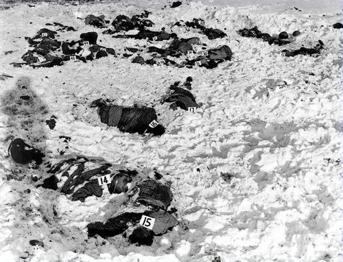 The Malmedy Massacre. Germans open fire on 113 American POWs.