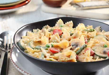 To Explore? To Create? To Wow? Share your reason and learn more at http://swanson.campbellskitchen.com/recipe/farfalle-primavera-in-cream-sauce/